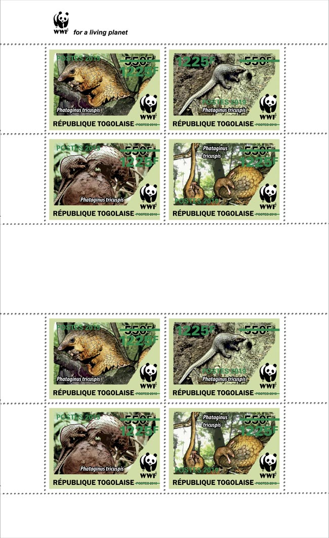 WWF overprint (Pangolin in green foil)  - Issue of Togo postage stamps