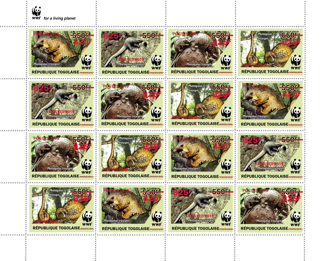 WWF overprint (Pangolin in red foil)  - Issue of Togo postage stamps
