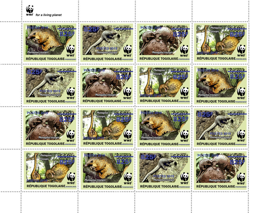 WWF overprint (Pangolin in dark blue foil)  - Issue of Togo postage stamps