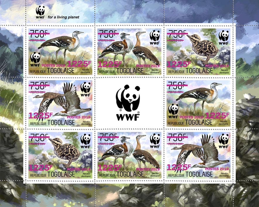 WWF overprint (Bird in pink foil)  - Issue of Togo postage stamps